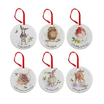 Royal Worcester Wrendale Christmas Tree Decorations Set of 6