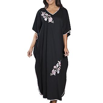 Ladies Embroidered Long Kaftan Sleepwear Nightwear FREE SIZE FITS MOST