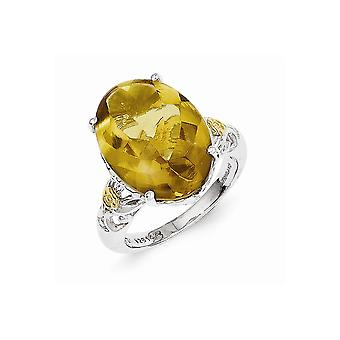 925 Sterling Silver Polished Prong set finish With 14k Whiskey Quartz Ring Jewelry Gifts for Women - Ring Size: 6 to 8