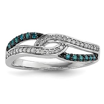 925 Sterling Silver Polished Prong set Open back Gift Boxed Rhodium plated Blue and White Diamond Ring Jewelry Gifts for