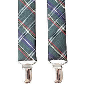 Knightsbridge Krawatte Tartan Clip Hosenträger - grün