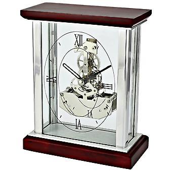 David Peterson Skeleton Clock - Silver/Dark Cherrywood Brown