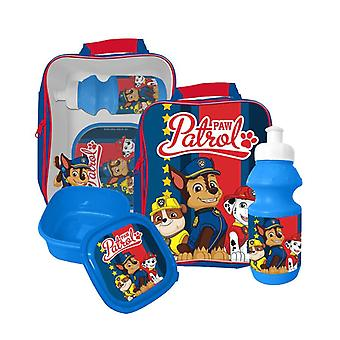 Paw Patrol Chase, Marshall & Rubble bag lunch box water bottle Blue