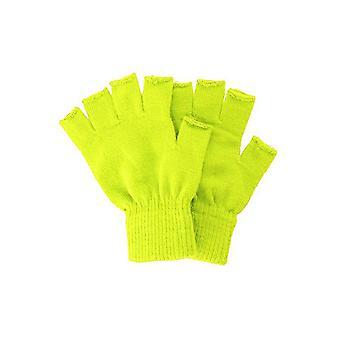 Gants tricotés fingerless gants jaunes