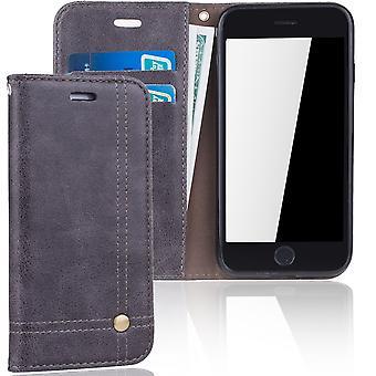 Mobiltelefon täcker fallet för Apple iPhone 6 cover Wallet case grey