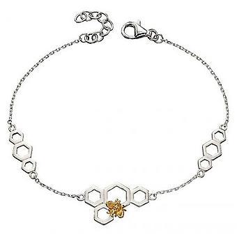 Delar Silver honungskaka Platting Armband - Silver/guld