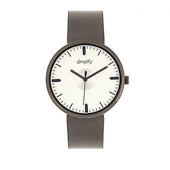 Simplificar el reloj correa de cuero de 4500 - Gunmetal/estaño
