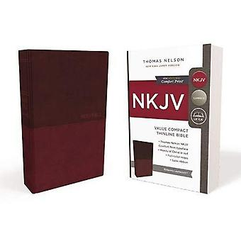 NKJV, waarde Thinline Bijbel, Compact, imitatie leder, Bourgondië, rode Letter Edition Comfort Print