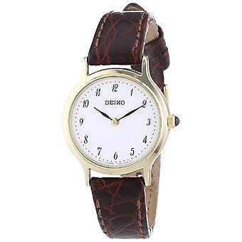 Seiko SFQ828P1-Armbanduhr, Leder, Farbe: braun