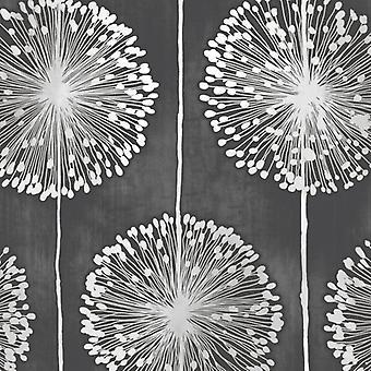 Flower Wallpaper Floral Leaf Paisley Nature Dandelion Black & Metallic Grey
