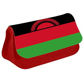 Malawi Flag Printed Design Pencil Case for Stationary/Cosmetic - 0104 (Red) by i-Tronixs