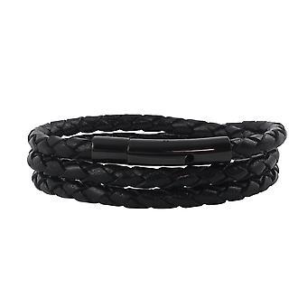 Lederen ketting lederen lint 4 mm heren ketting zwart 17-100 cm lang met hendel print gesp zwart gevlochten