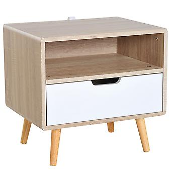 HOMCOM Wooden Bedside Storage Cabinet Free Standing Bedroom Organizer Unit w/ Drawer Open Shelf