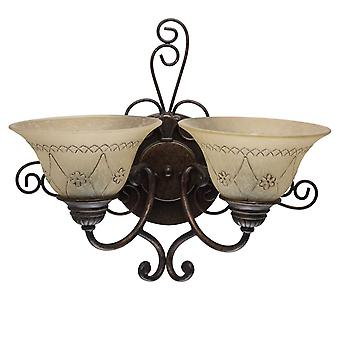 Glasberg  -  Antique Bronze Double Wall Light With Patterned Glass  382022902