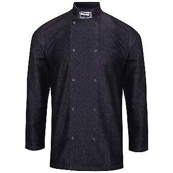 Premier Mens Denim Ringspun Cotton Long Sleeve Chefs Jacket