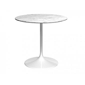 Gillmore Pedestal Medium Dining Table White Marble And White