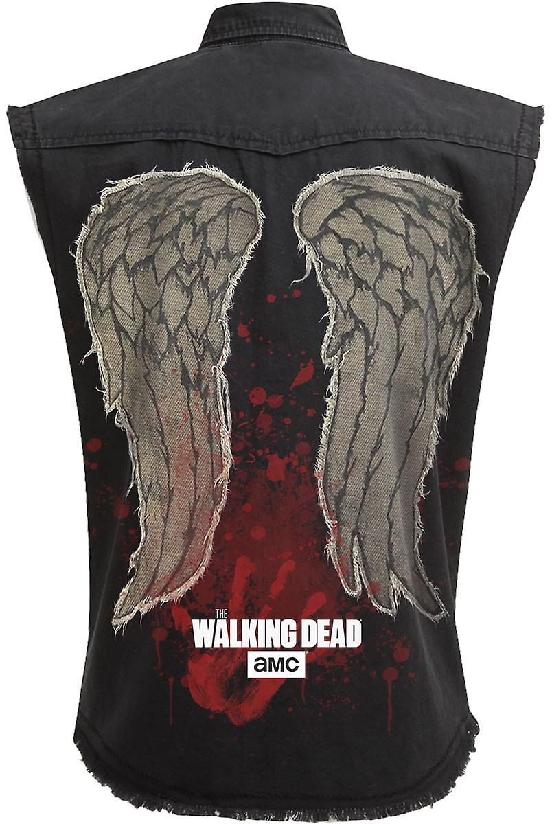 Spiral Direct Gothic DARYL WINGS - Sleeveless Stone Washed Worker Black|The Walking Dead|Wings|Blood|Zombie