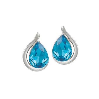 Eternal Collection Madame Turquoise Crystal Silver Tone Stud Pierced Earrings