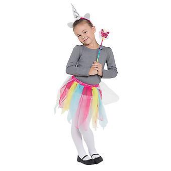 Regenboog Unicorn Tutu/Hband + wand set