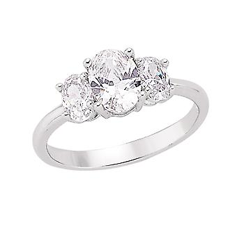 Jewelco London Rhodium Plated Sterling Silver Oval Cubic Zirconia Trilogy Engagement Ring