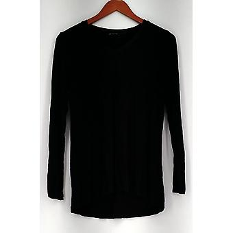 H by Halston Top Essentials V-Neck Long Sleeve Knit Black A286211