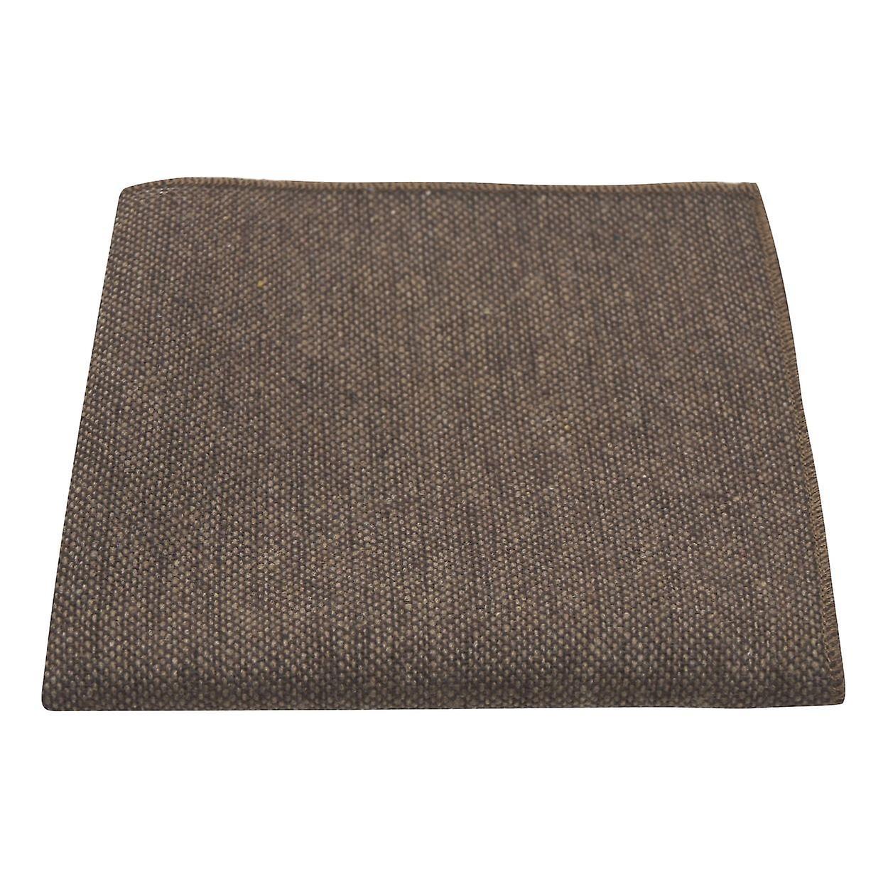 Highland Weave Hessian Brown Pocket Square, Handkerchief