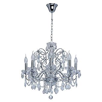 Glasberg - Chrome Finish Six Light Chandelier With Glass And Crystal Decor 367013306