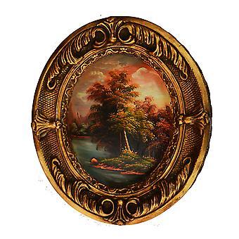 Landskap, oljemålning med ram, yttermått 38x31x4 cm