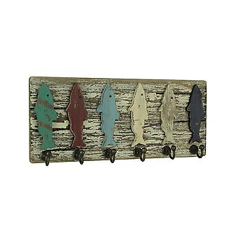 Distressed Wood Colorful Fish Wall Hook Rack