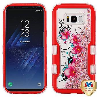MYBAT Natural Red/Morning Petunias & Pink Meteor Shower TUFF Quicksand Glitter Hybrid Case for Galaxy S8 Plus