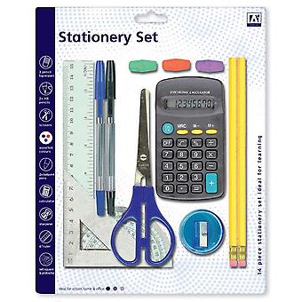 14 Pcs Stationery Set Maths School Kids Pens Pencils Ruler Calculator Scissors