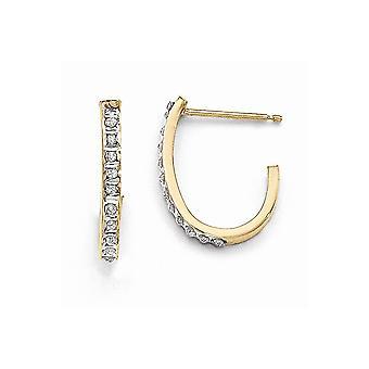 14k Yellow Gold Polished Post Earrings Diamond Fascination Post J Hoop Earrings Jewelry Gifts for Women