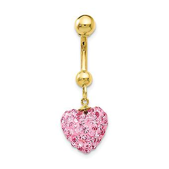 10k Yellow Gold With Dangle Pink Crystal Love Heart Belly Ring Dangle Jewelry Gifts for Women