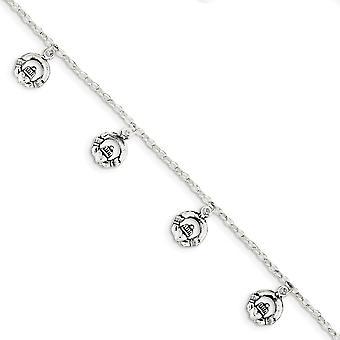 925 Sterling Silber poliert Fancy Hummer Verschluss Antik irischen Claddagh keltische Nfaltigkeit Knoten Armband Schmuck Geschenke fo