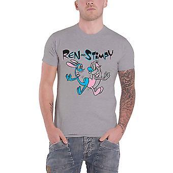 Ren And Stimpy T Shirt Bum Bump new Official Mens Grey