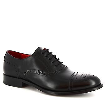 Leonardo kengät miehet ' s käsintehty terästetty Oxford kengät musta vasikka nahka