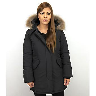 Fur coats - Wintercoat Wooly Lang - Fur Collar - Parka Stab bags - Black