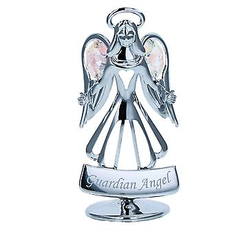 Crystocraft Guardian Angel Freestanding Silvertone Ornament made with Swarovski Crystals