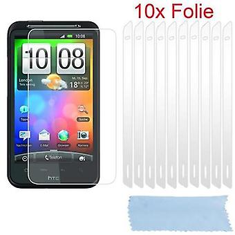 Cadorabo screen screens for HTC DESIRE HD - Protective films in HIGH CLEAR - 10 pieces of highly transparent protective films against dust, dirt and scratches