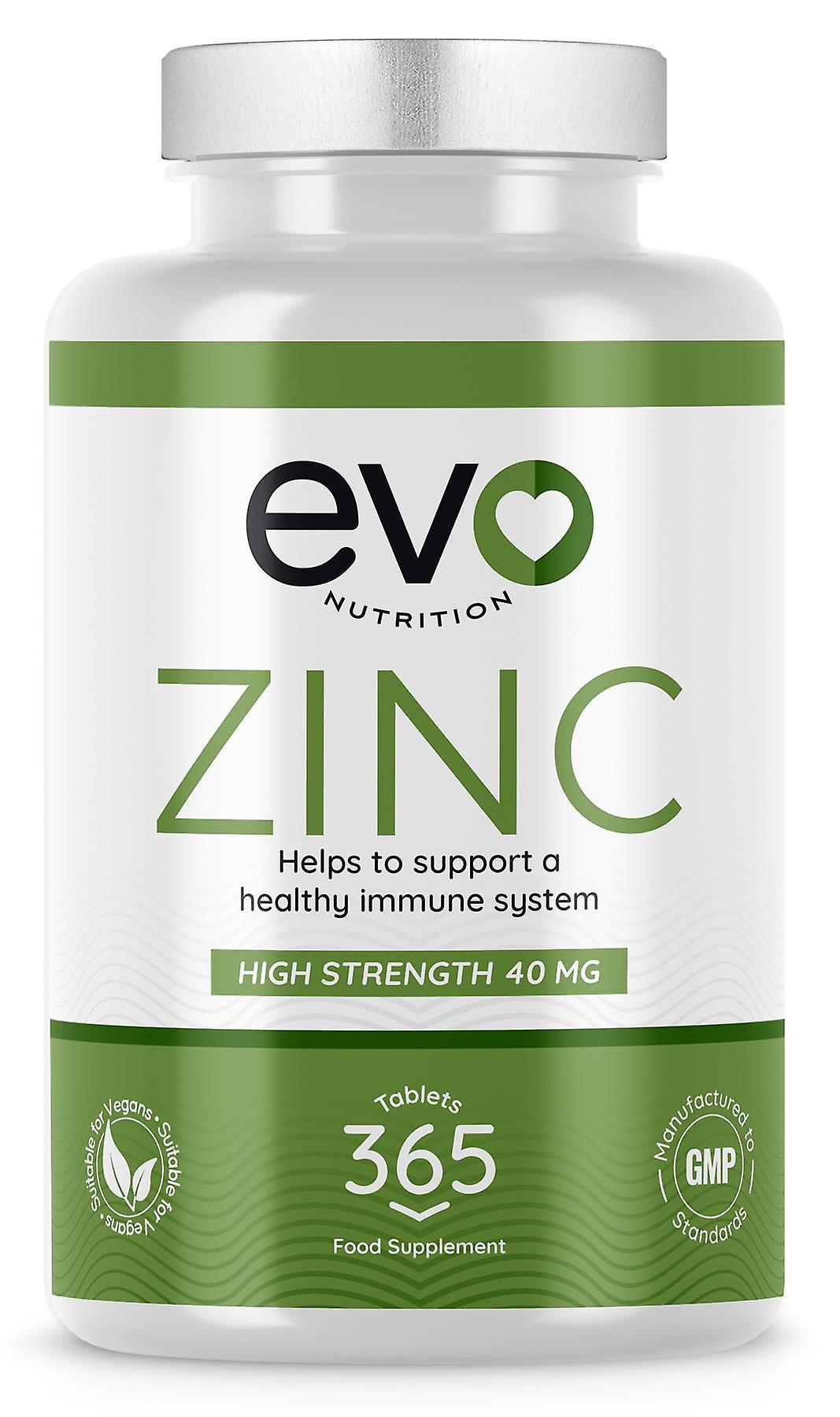 Zinc (365 Tablets) 40mg Easy-To-Swallow - Evo Nutrition