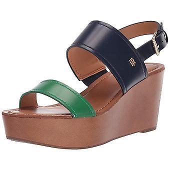 Tommy Hilfiger Womens Wilder Leer open teen casual platform sandalen