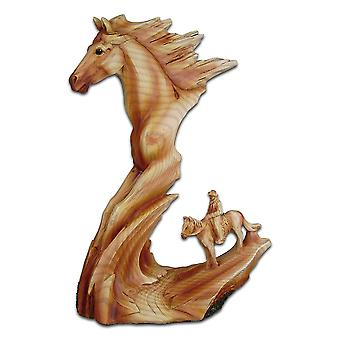 Cherokee River Horse and Cowboy Resin Plaque