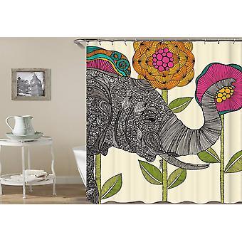 Oosterse olifant en bloemen tekening douche gordijn