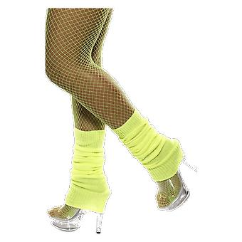 Neon Yellow Leg Warmers 80s Disco Raver Retro Fancy Dress