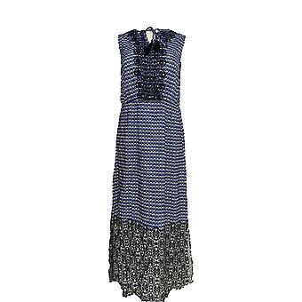 Isaac Mizrahi żyć! Sukienka Geo Drukowane Maxi Niebieski A264685