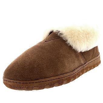 Mens Rubber Sole Genuine Australian Sheepskin Fur Cuff Boots Slippers UK 6-14