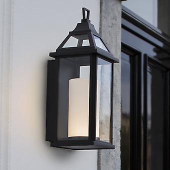 Lutec Hom 16W Coach lantaarn buitenkant LED Wall Light zwart
