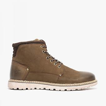 Front Thread Mens Cuir Lace Up Bottes Khaki Brown