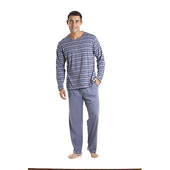 Haigman Crew Neck Striped Long Pyjama Set Loungewear 3072