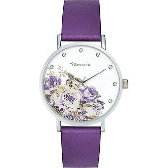 Tamaris-armbandsur-Alva Flower 2-DAU 38mm-matt silver-Women-TW036-Purple silver vit